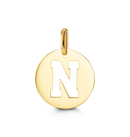 Yellow Gold Initial N Charm Pendant