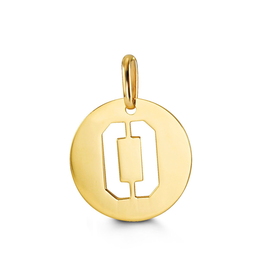 Yellow Gold Initial O Charm Pendant