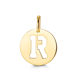 Yellow Gold Initial R Charm Pendant