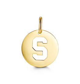 Yellow Gold Round Cut Out Initial S Pendant