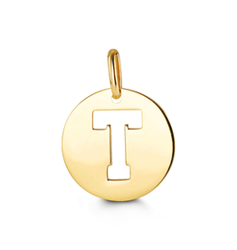 Yellow Gold Round Cut Out Initial T Pendant