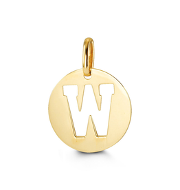 Yellow Gold Initial W Charm Pendant