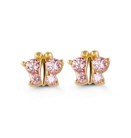 Butterfly Screwback Baby Earrings Pink CZ 14K Yellow Gold