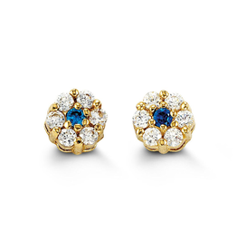 Yellow Gold Cluster Blue Cubic Zirconia Baby Earrings