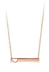 Rose Gold Bar Necklace with Cut Out Heart