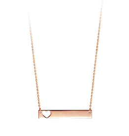 Bar Necklace with Cut Out Heart Rose Gold