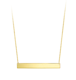 Yellow Gold Plain Bar Necklace
