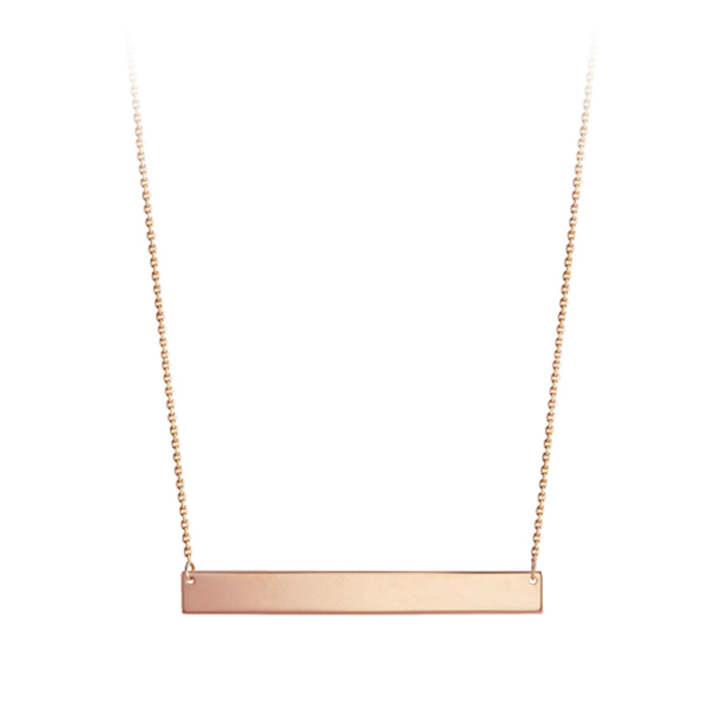 10K Rose Gold Horizontal Bar Necklace