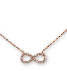 Sideway Infinity CZ Sterling Silver Rose Tone Necklace
