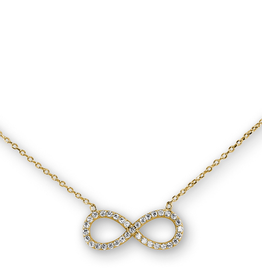 Sideway Infinity CZ Sterling Silver Gold Tone Necklace