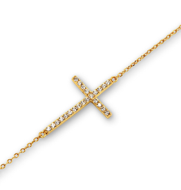 Sterling Silver CZ Sideway Cross Yellow Gold Plated Bracelet