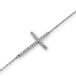 Silver CZ Sideway Cross Rhodium Plated Bracelet