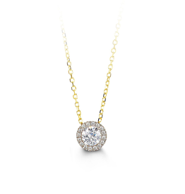10K Yellow Gold Solitare CZ Halo Necklace