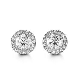 White Gold CZ Halo Stud Earrings