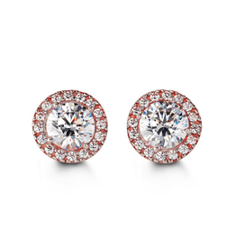 10K Rose Gold (8mm) Halo Cubic Zirconia Stud Earrings