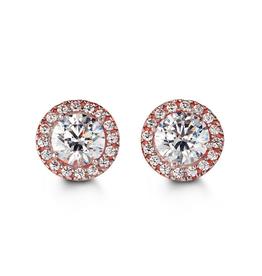 Rose Gold CZ Halo Stud Earrings