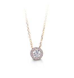 10K Rose Gold (8mm) Halo CZ Necklace