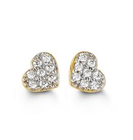 Yellow Gold CZ Heart Stud Earrings