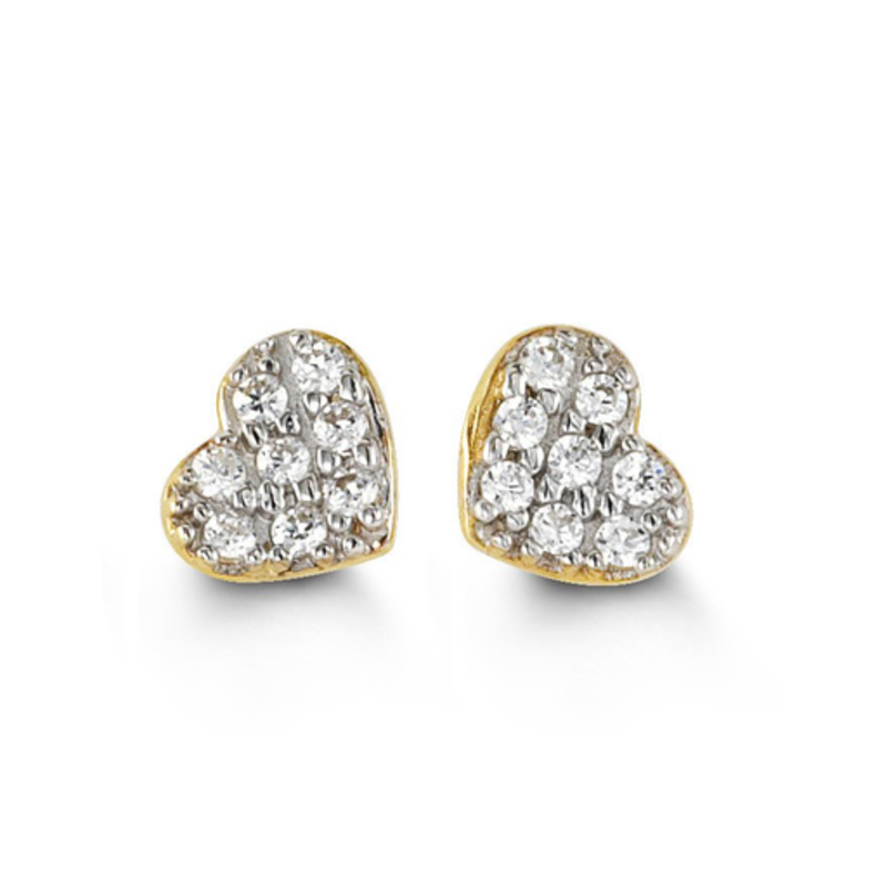 Yellow Gold CZ Heart Stud Earrings