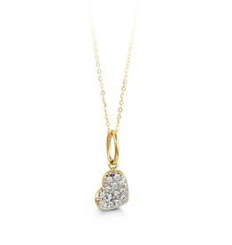 Heart Pavee CZ Pendant Yellow Gold