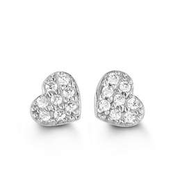White Gold Cubic Zirconia Heart Stud Earrings