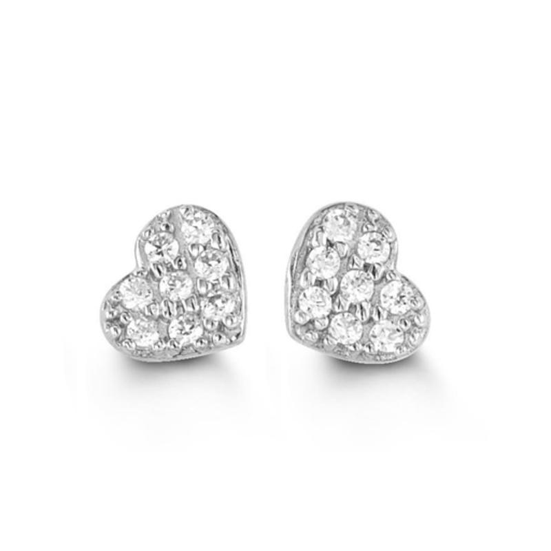 White Gold Cubic Zirconia Heart Stud Earrings