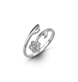 White Gold CZ Flower Toe Ring