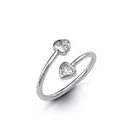 White Gold CZ Double Heart Toe Ring