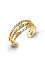 Yellow Gold CZ Bezel Set Toe Ring