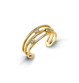 Yellow Gold CZ Bezel Set Toe Ring