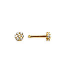 14K Yellow Gold Cluster CZ Nose Stud