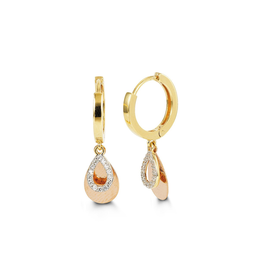 10K Two Tone Yellow and Rose Gold CZ Teardrop Dangle Earrings
