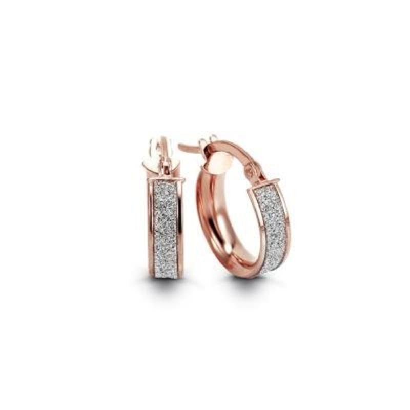 Rose Gold Italian Glam Hoop Earrings (15mm)