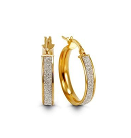 Yellow Gold Hoop Earrings with White Gold Centre (19mm)