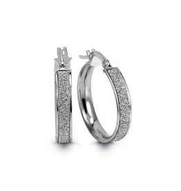 White Gold Italian Glam Hoop Earrings (19mm)
