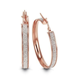 Italian Glam Rose and White Gold Hoops 40mm