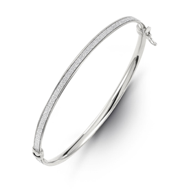 Glam Bangle White Gold with Textured Centre