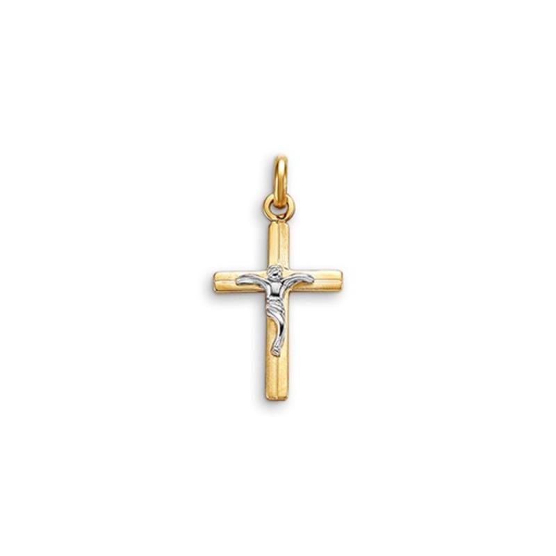 Yellow and White Gold Crucifix Pendant