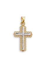 Yellow and White Gold Diamond Cut Cross Pendant