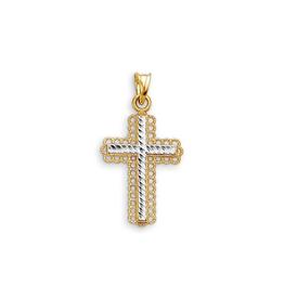 10K Yellow and White Gold Diamond Cut Cross Pendant