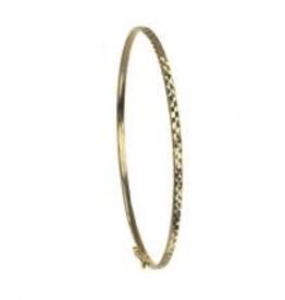 Yellow Gold Diamond Cut Bangle (2mm)
