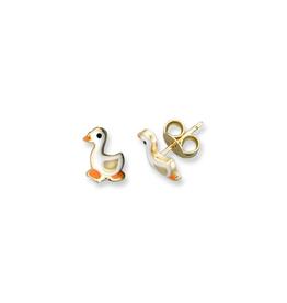 Duck Enamel Earrings Yellow Gold