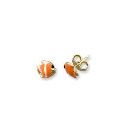 Fish Enamel Earrings Yellow Gold