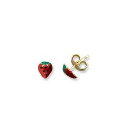 Strawberry Enamel Baby Yellow Gold Earrings
