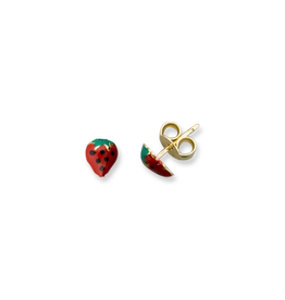 Yellow Gold Strawberry Baby Earrings