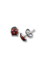 10K White Gold Red Enamel Baby Ladybug Earrings