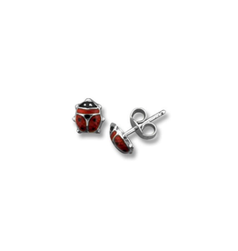 Ladybug Enamel Baby Earrings White Gold (6mm)