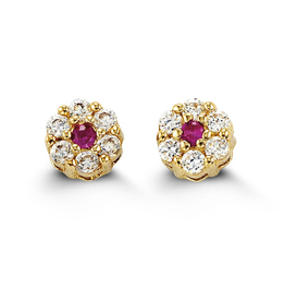 Yellow Gold Cluster Red Cubic Zirconia Baby Earrings