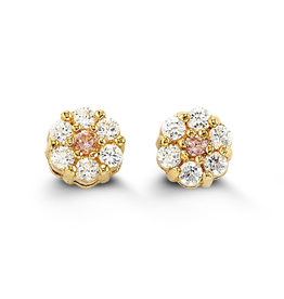 14K Yellow Gold Flower Pink Cubic Zirconia Baby Earrings