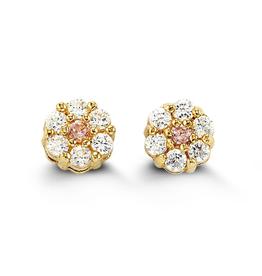 Yellow Gold Flower Cubic Zirconia Baby Earrings
